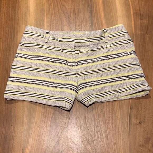 LOFT Pants - Stripe black white and lime loft cotton shorts